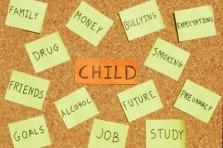 Child concerns on a corkboard